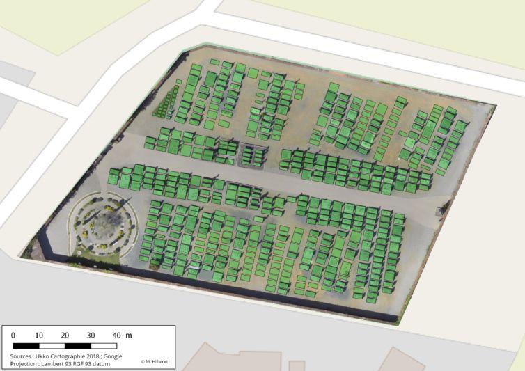 Drone et plan de cimetière